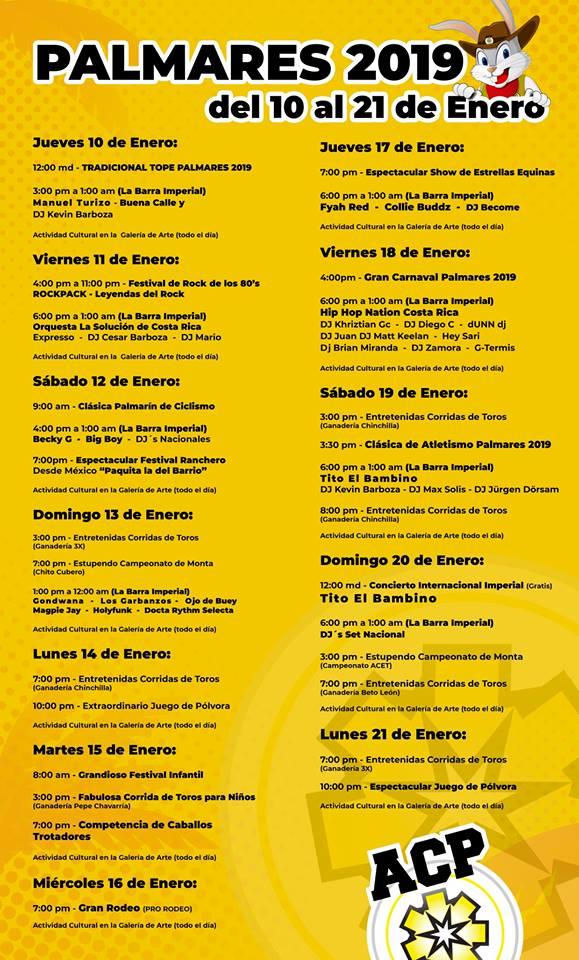 calendario fiestas de palmares 2019
